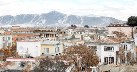 Kabul Afghanistan in the winter with mountains in the background 免版税图像 - 97530724