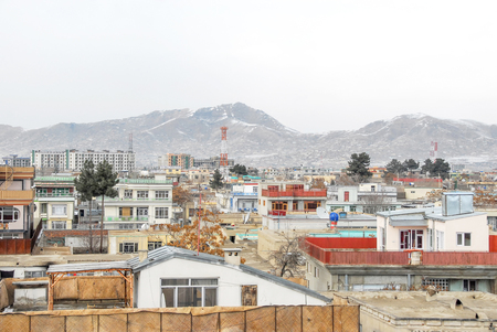 Kabul Afghanistan in the winter with mountains in the background 免版税图像 - 97530727
