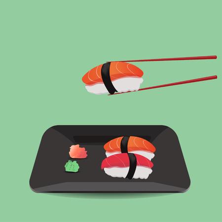 wasabi: salmon and tuna sushi with wasabi