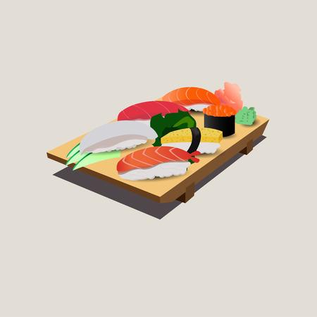 chopping: japanese food on chopping block Illustration