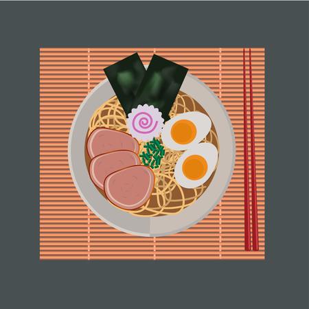 ramen: ramen noodles Japanese food with chopstrick