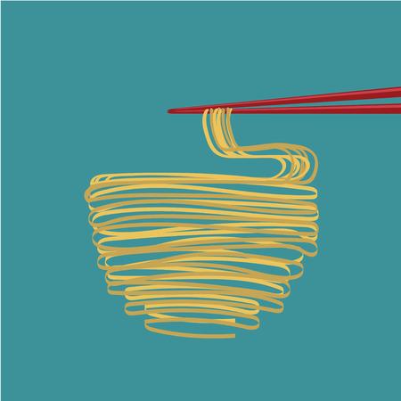 ramen: ramen nooddles Japanese food with chopstrick