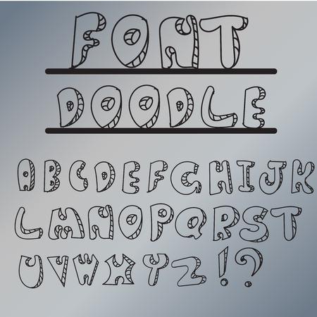 font design: alfabet doodle font design Illustration