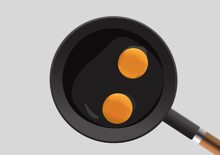 raw egg: two raw chicken egg in a pan design