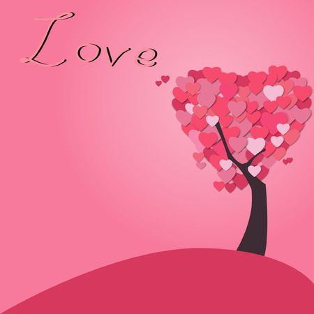 love tree: tree love heart paper cut style vector illustration
