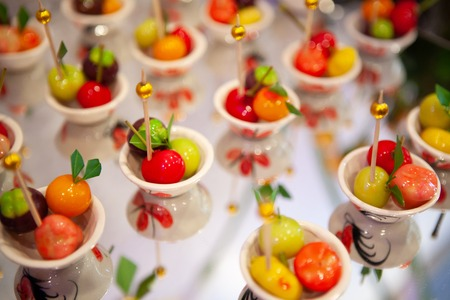 Luk Chup, Thai style mung bean Marzipan dessert shaped into miniature fruits. Reklamní fotografie
