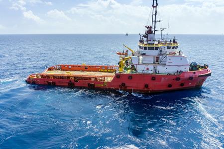 Anchor Handling Tug in open ocean at oilfield Malaysia