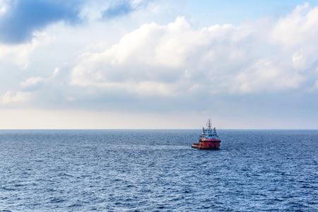 Anchor handling tug boat at oilfield Malaysia
