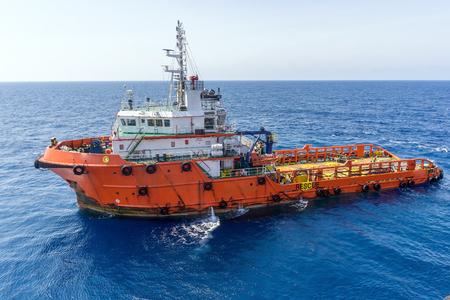 handling: Anchor Handling Tug in open ocean at oilfield Malaysia