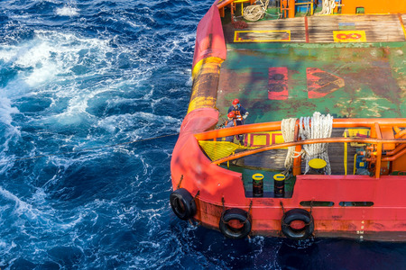stern: Back deck or stern of anchor handling tug