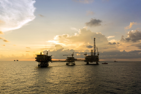 Oil rig or production platform at oilfield in east Malaysia