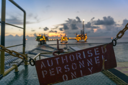 upstream: A signage Authorised Personnel Only on the helideck of at construction barge at oilfield Malaysia Stock Photo