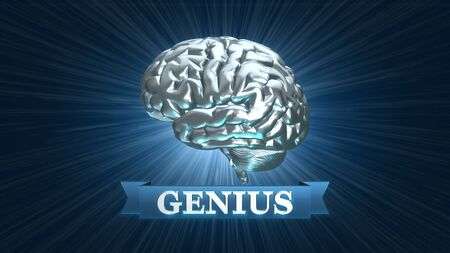 Silver genius brain award - 3D rendered illustration