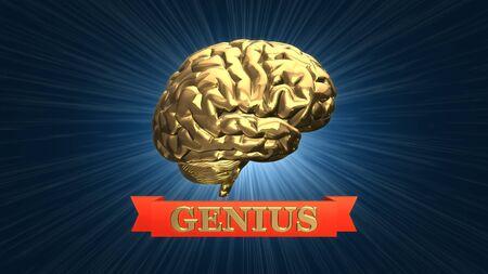 Gold genius brain award - 3D rendered illustration