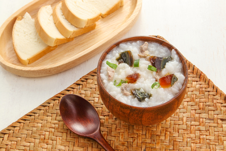 Minced pork congee with preserved egg