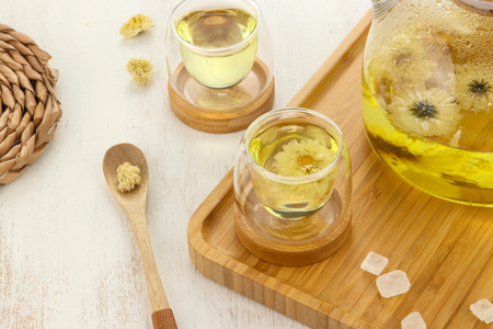 Glass tea and chrysanthemum tea