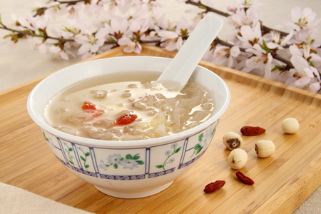 Lotus Seeds and White Fungus Stock Photo