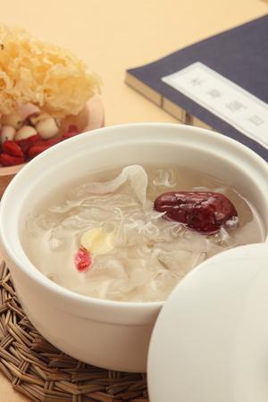Lotus Seeds and White Fungus  dessert 스톡 콘텐츠