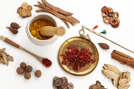 Traditional Chinese Medicine on white background