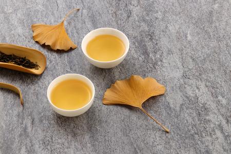 tea set on cement background