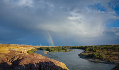 west river: Rainbow at Colorful beach