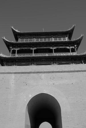 jiayuguan pass tower: Jiayuguan black and white picture Editorial