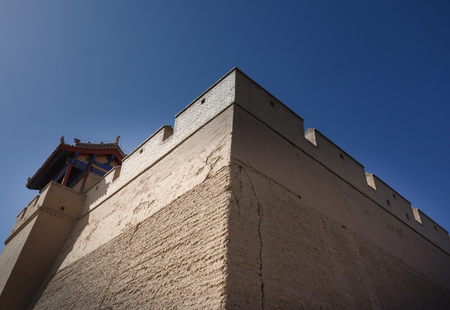 jiayuguan pass tower: Jiayuguan city wall corner Editorial