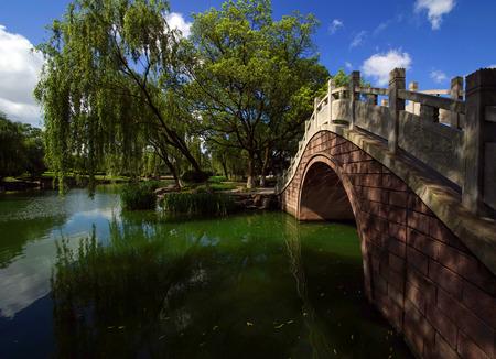 lakeview: Stone arch bridge Stock Photo