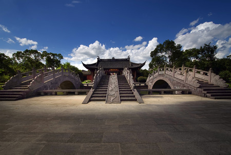stone arch: Stone arch bridge at Liangzhu cultural park Editorial