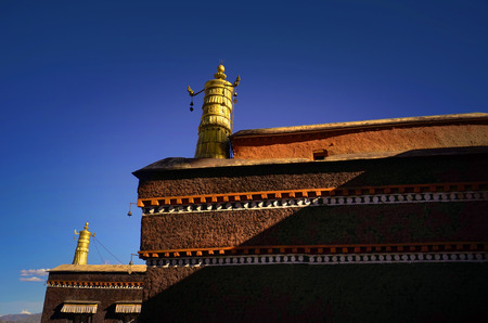 abbot: View of the view of the temple under the blue sky