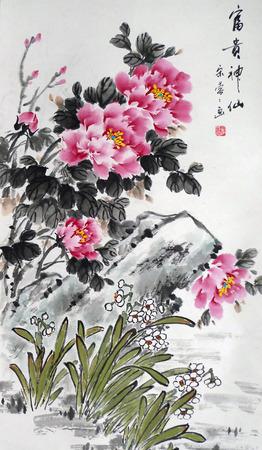 모란 꽃 중국어 잉크 그림 에디토리얼