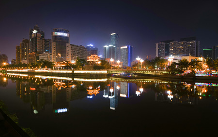 Night view of Chengdu Editorial