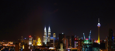 The twin tower at night