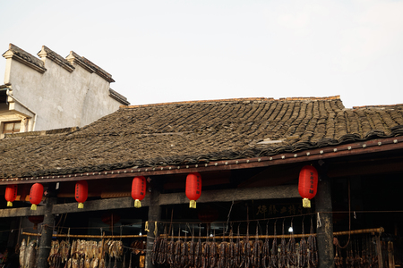roofed house: The ancient town of tile roofed house Editorial