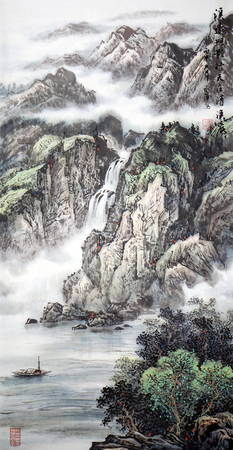 산 풍경 풍경 잉크 그림