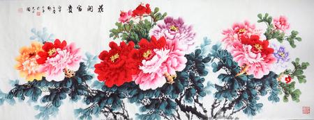 꽃 피는 잉크 그림