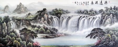 Berg waterval Landschapsschilderkunst Stockfoto - 76025098