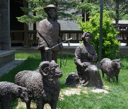 Sculpture of Tu nationality Shepherd Editorial