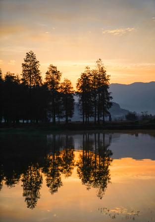 Sunset scenery at lakeside