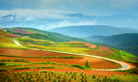 red dirt terraces landscape scenery view