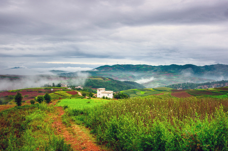 Mountain village in the morning Stock Photo