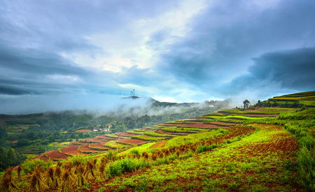 Landscape scenery view of a villages on the terrace Stock Photo
