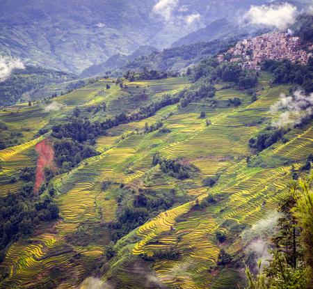 Yunnan terras met uitzicht op het landschap