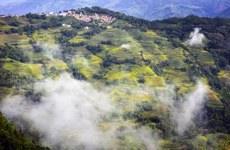 Yuanyang Terrace landschapsmening Stockfoto