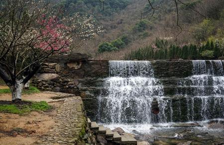 Mini waterfall in a park
