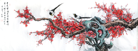 Plum blossom ink painting