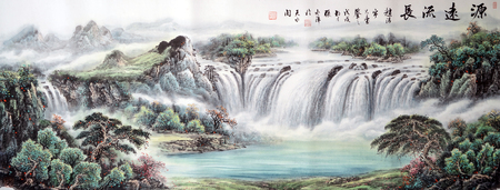 natural waterfall ink painting Stok Fotoğraf - 101323867