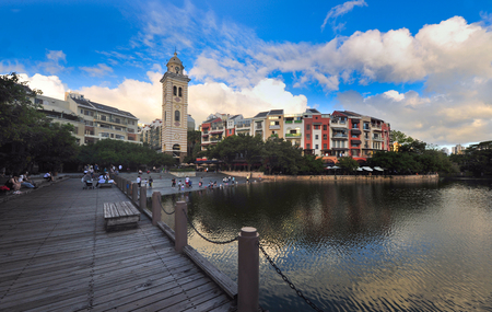Waterfront Xiangshan West Street scenery 스톡 콘텐츠