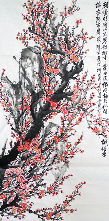 Plum Chinese ink painting 에디토리얼