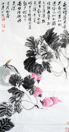 Chinese cabbage radish Chinese ink painting